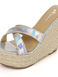 Women's Shoes Synthetic Wedge Heel Wedges/Peep Toe Sandals Casual Blue/Silver