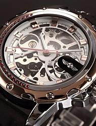 WINNER Hombre Reloj de Pulsera El reloj mecánico Cuerda Automática Huecograbado Silicona Banda De Lujo Negro Dorado Oro Rosa