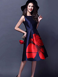 Women's Print Multi-color Dresses , Casual Round Sleeveless