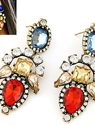 Drop Earrings Gemstone Cubic Zirconia Gold Plated Alloy Fashion Screen Color Jewelry 2pcs