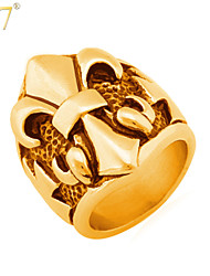 U7® Men's Fleur De Lis Rings European Men Jewelry Trendy 316L Stainless Steel Cool Punk Rock Statement Rings