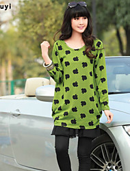 Women's Casual/Daily Cute Loose Dress,Print Round Neck Above Knee Long Sleeve Green Cotton Fall