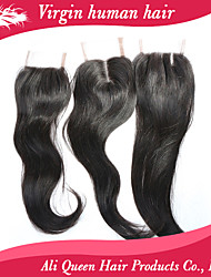 Ali Queen hair products Brazilian Straight Lace Closure 4x4 8-20inch, Unprocessed Brazilian Lace Closure Straight