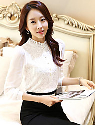 Women's Solid/Patchwork/Lace White Shirt , Stand Long Sleeve Button/Lace