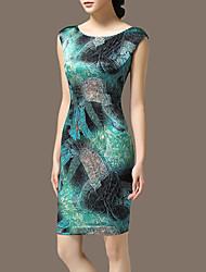 Women's Vintage Plus Sizes Micro Elastic Sleeveless Knee-length Dress (Satin)