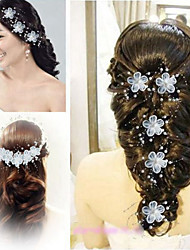 Bride's Flower Pearl Forehead Wedding Headdress Hair Clip 1 PC