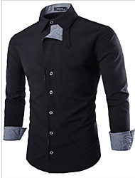 XBN Men's Vintage/Casual/Work Shirt Collar Long Sleeve Casual Shirts (Cotton/Lycra/Polyester)