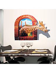 2015 novo 3d girafa pvc adesivo de parede removível