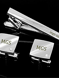 Personalized Gift Men's Engravable Silver Plain Wave Rhinestone Pattern Cufflinks and Tie Bar Clip Clasp(1 Set)