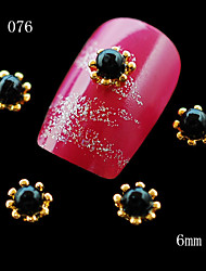 10pcs Glitter Golden Flower Alloy Metal with a Pearl Nail Charm 3D Alloy Nail Art Material For Nail Tip 6mm