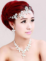 Bridal Necklace Crystal Bride Jewelry Three Sets of Earrings Necklace