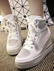 Sneakers de diseño ( Poliéster , Plateado / Blanco )- 3-6cm - Tacón Cuña para Zapatos de mujer