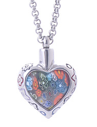 Women's Bohemia Stainless Steel Flower Patch Murano Glass Heart Pendant Necklace Cremation Jewelry