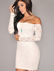 Women's Sexy/Bodycon/Lace Long Sleeve Above Knee Dress (Lace)