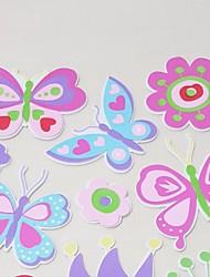 papillon + fleur du soleil autocollants 3d