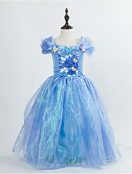 A-line Tea-length Flower Girl Dress - Satin / Tulle Short Sleeve Square with