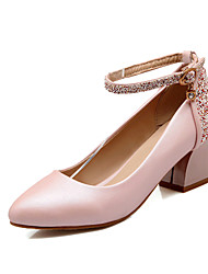 Women's Shoes Glitter Chunky Heel Heels/Mary Jane/Pointed Toe Pumps/Heels Dress Blue/Pink/White