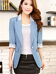 Women's Elegant Work Medium ¾ Sleeve Slim Blazer with Lace