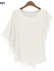 Women's Casual/Work Micro-elastic Short Sleeve Regular Blouse (Chiffon)