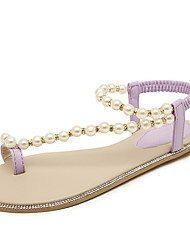 Women's Shoes Faux Leather Flat Heel Toe Ring/Round Toe Sandals Casual Purple/White