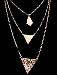 Women's Europe And The United States Multilayer Triangle Alloy Necklace Sweater Chain