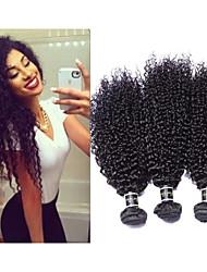 "3pcs/lot 8""-34"" Mogolian Afro Curl Kindy Curly Virgin Hair Kindy Curly Hair Weft  300g #1b Human Hair Extension"