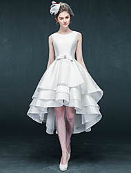 A-line Wedding Dress Asymmetrical Jewel Satin with
