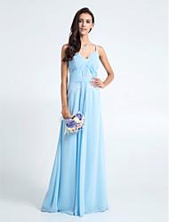 homecoming vloer lengte chiffon / kanten bruidsmeisje jurk - hemelsblauw schede / column spaghettibandjes