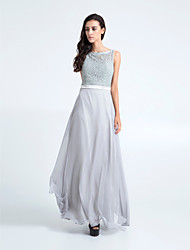 Floor-length Chiffon / Lace Bridesmaid Dress - Silver Plus Sizes / Petite Sheath/Column Bateau