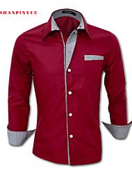 2015 Quality Cotton Fashion Men's Long Sleeve Casual Shirt Size M-4XL 8 Color