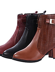 Women's Shoes Faux Leather Chunky Heel Combat Boots Boots Casual Black/Brown/Burgundy