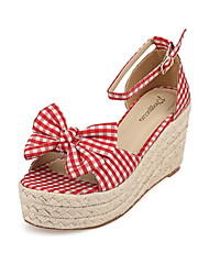 Women's Shoes Canvas Wedge Heel Wedges/Ankle Strap/Round Toe Sandals Casual Black/Red