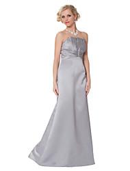Formal Evening Dress - Dark Grey Sheath/Column Strapless Floor-length Satin Chiffon