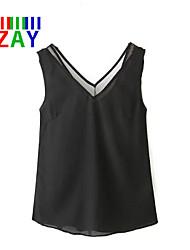 Damen Solide Einfach Lässig/Alltäglich T-shirt,V-Ausschnitt Sommer Ärmellos Weiß / Schwarz Dünn