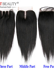 "8""-20"" Straight Top Closure Remy Hair Closure Three Part Middle Part Free Part 4*4 Closure"