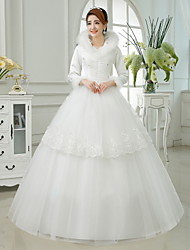 Ball Gown Wedding Dress Ankle-length High Neck Cotton / Organza / Satin with