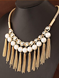 MPL Europe and the United States popular all-match pearl diamond tassel clavicle chain