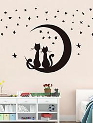 autoadesivi della parete a parete in stile decalcomanie adesivi murali luna gattino pvc