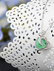 The High-grade Natural Silver Green Chalcedony Sterling Silver Pendant Natural Crystal Necklace