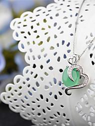la haute teneur en argent vert naturel calcédoine pendentif en argent sterling collier de cristal naturel