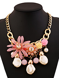Alloy Gold Plated With Cubic Zirconia Flower Hand-woven Necklaces