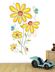 Wall Stickers Wall Decals Style Butterfly Flower Beautiful Cartoon PVC Wall Stickers
