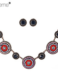 Lureme®  Bohemian Drill Resin Beads Roundness Alloy Necklace Earrings Suit