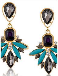 Drop Earrings Crystal Gemstone Simulated Diamond Alloy Fashion Brown Green Jewelry 2pcs