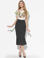 Katoen/Polyester - Micro-elastisch - Bodycon/Print - Tot de knie - Vrouwen - Rokken