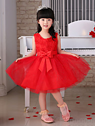 Princess Knee-length Flower Girl Dress - Tulle Sleeveless Scoop with