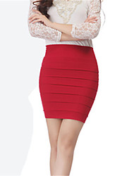 Women's Sexy Micro-elastic Medium Above Knee Skirts (Cotton Blends)
