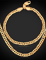 U7® Retro Helix Chain Bracelet 18K Real Gold Plated Fashion Mens Gold Chain Necklace Jewelry Set