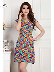 Women's Casual/Work/Plus Sizes Micro-elastic Short Sleeve Knee-length Dress (Chiffon/Polyester)