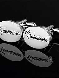 Men's Groomsman Bride Oval Black Wedding Suit Shirt Cufflinks